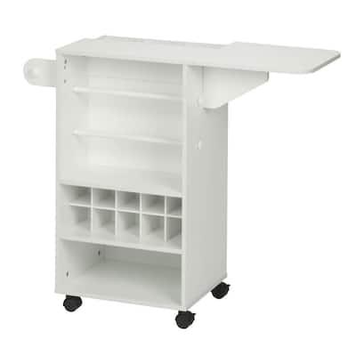2-Shelf MDF Wheeled Extendable Craft Storage Cart in White