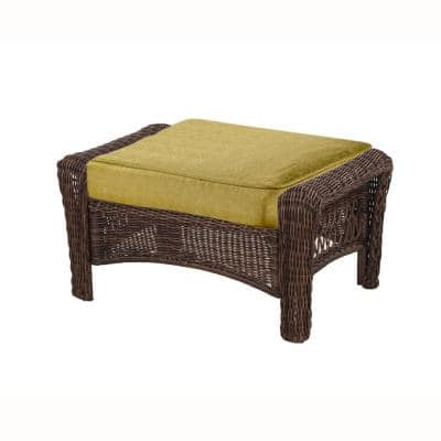 Spring Haven 23.25 x 19.2 Outdoor Ottoman Cushion in Standard Green