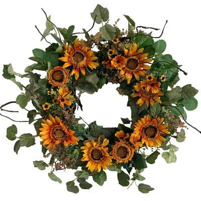 24 in. Unlit Green Artificial Wreath with Golden Orange Sunflowers