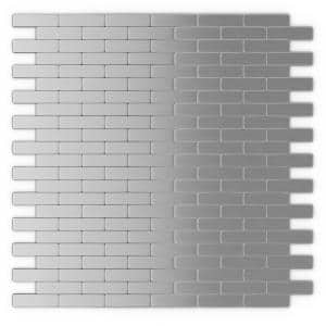 Bricky S2 Silver Stainless Steel 11.81 in. x 11.42 in. x 5 mm Metal Peel and Stick Wall Mosaic Tile