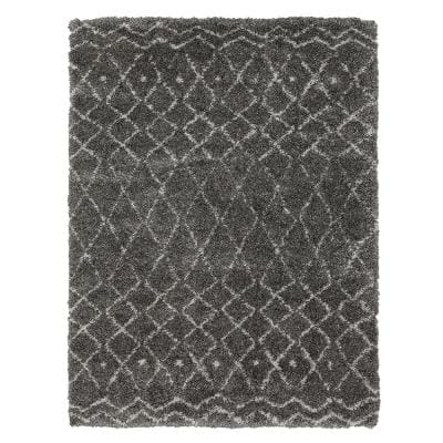 Tallawah Dark Grey 7 ft. 10 in. x 10 ft. Moroccan Area Rug