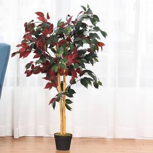 4 ft. Artificial Capensia Bush Home Decor Red Green Leaves