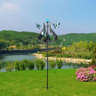 Outdoor Tulip Kinetic Solar Light Windmill - Teal