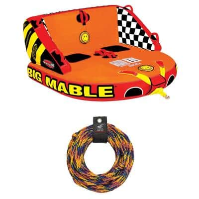 Big Mabel Double Rider Towable Inflatable Tube with Tow Rope