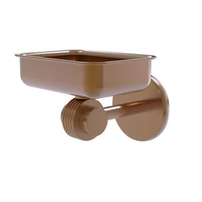 Satellite Orbit Two Collection Wall Mounted Soap Dish with Groovy Accents in Brushed Bronze