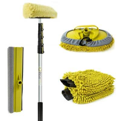 Car Wash Cleaning Kit and 24 ft. Extension Pole Soft Car Scrub Brush Car Squeegee Wash Mitts Microfiber Cleaning Head