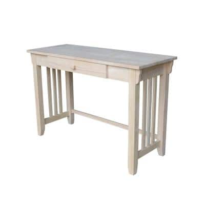45 in. Rectangular Unfinished 1 Drawer Writing Desk with Solid Wood Material