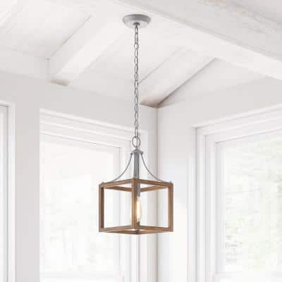 Boswell Quarter 1-Light Galvanized Mini-Pendant with Painted Chestnut Wood Accents