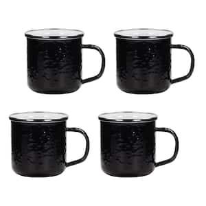 12 oz. Solid Black Enamelware Coffee Mugs (Set of 4)