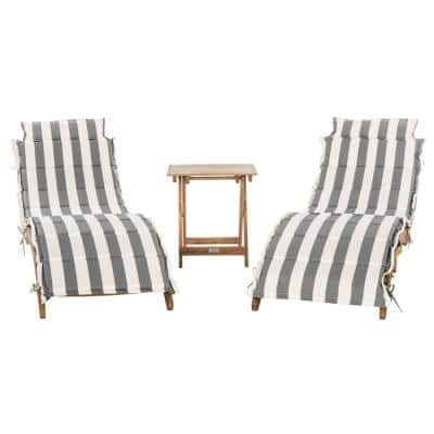 Pacifica Natural Brown 3-Piece Wood Outdoor Chaise Lounge Chair with Grey/White Cushion