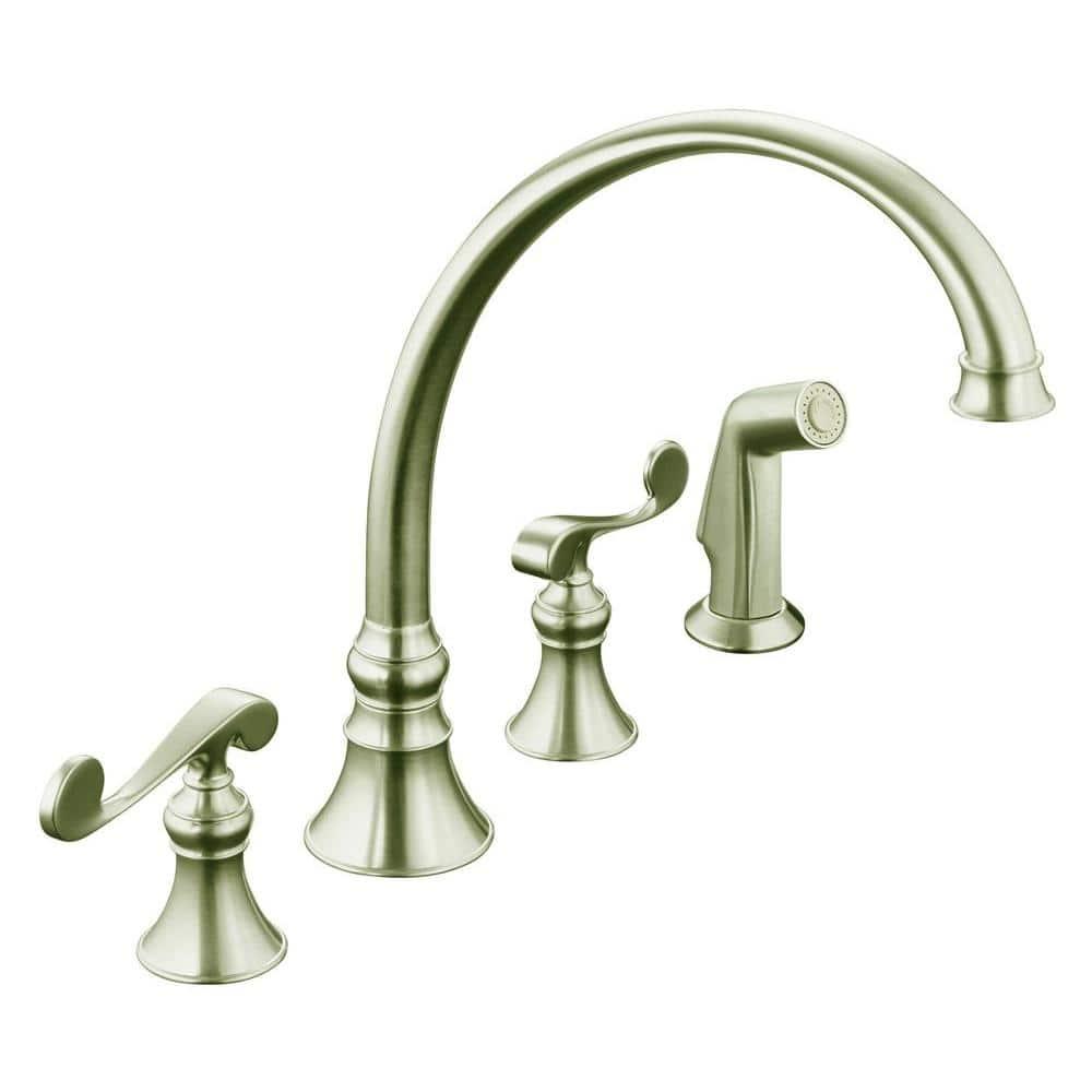 Kohler Revival 4 Hole 2 Handle Standard Kitchen Faucet In Vibrant Brushed Nickel K 16109 4 Bn The Home Depot