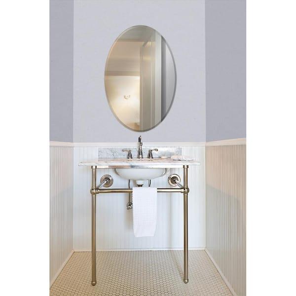 Glacier Bay 21 In W X 31 H, Oval Frameless Bathroom Mirror