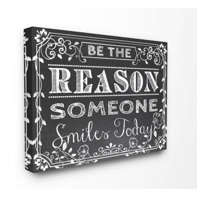 """30 in. x 40 in. """"Black and White Inspirational Word Chalk Drawing"""" by ALI Chris Canvas Wall Art"""