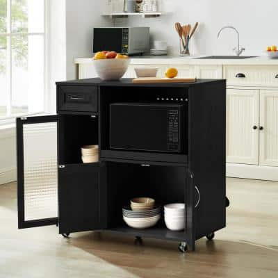 35.25 in. Black Microwave Cabinet Kitchen Cart with Adjustable Interior Shelves and Locking Wheels
