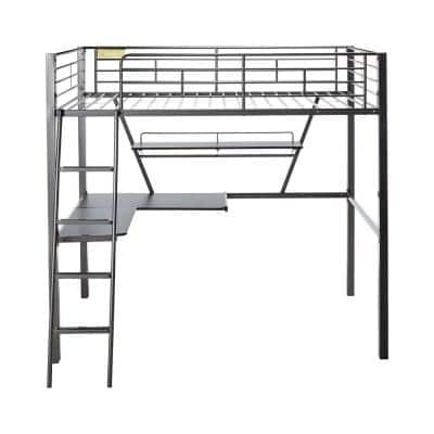 Amelia 72 in. x 79 in. Black Silver Metal Tube Loft Bed With Desk