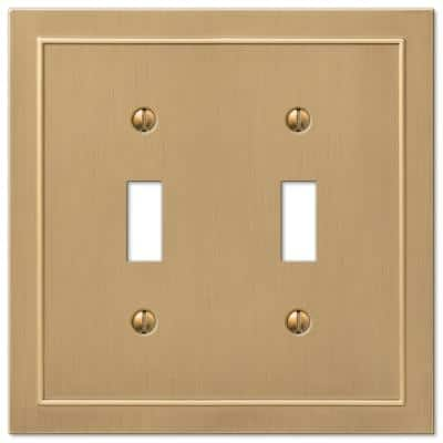 Bethany 2 Gang Toggle Metal Wall Plate - Brushed Bronze