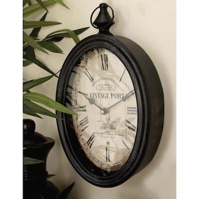 Black Metal Vintage Wall Clock (Set of 2)