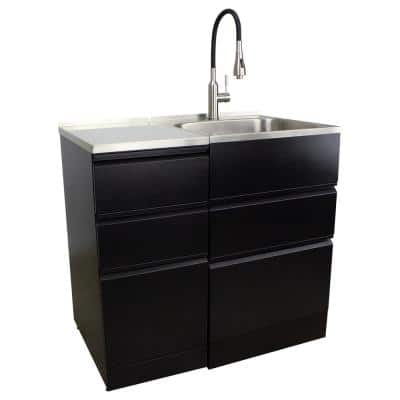 All-in-One 44.8 in. x 22 in. x 35 in. Metal Drop-In Laundry/Utility Sink and Cabinet in Black