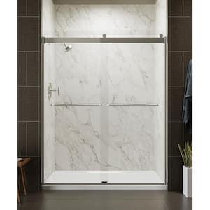 Levity 59 in. x 74 in. Frameless Sliding Shower Door in Matte Nickel with Handle