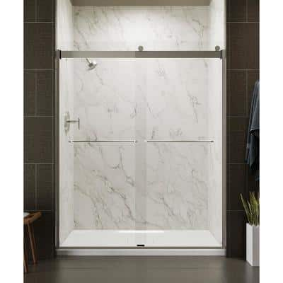 Levity 59 in. x 74 in. Frameless Sliding Shower Door in Matte Nickel with Handle