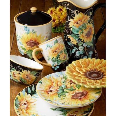 Sunflower Fields 4-Piece Seasonal Multicolored Earthenware 10.75 in. Dinner Plate Set (Service for 4)