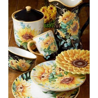 Sunflower Fields 16-Piece Seasonal Multicolored Earthenware Dinnerware Set (Service for 4)