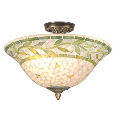 Cadena Mosaic 3-Light Antique Brass Finish Semi-Flush Mount