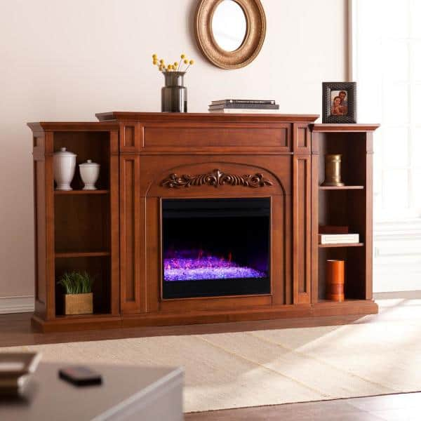 Electric Fireplace With Bookcases, Oak Electric Fireplaces