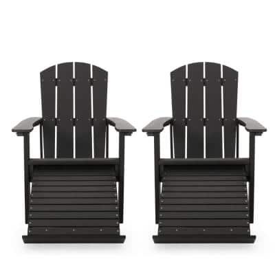 Cosette Black Reclining Wood Adirondack Chair (2-Pack)