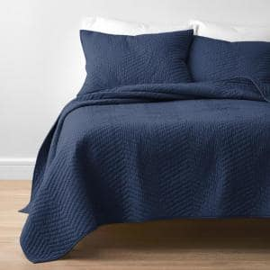 Company Cotton Navy Solid King Quilt