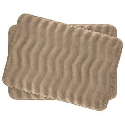 Waves Linen 17 in. x 24 in. Memory Foam 2-Piece Bath Mat Set
