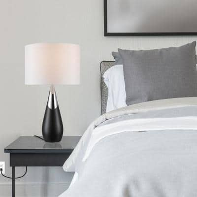 Lexell 25 in. Matte Black and Chrome Table Lamp with White Fabric Shade