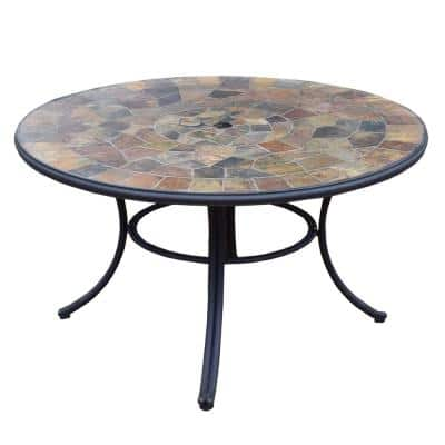 Dark Bronze Round 42-in Outdoor Patio Stone Slate Table Top with Steel Frame