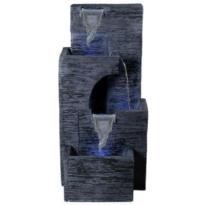 32.25 in. Black and Gray Lighted 3-Tier Outdoor Garden Water Fountain