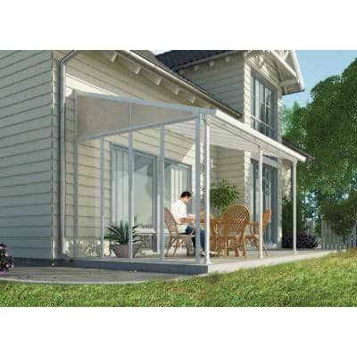 Feria 10 ft. x 14 ft. White Patio Cover Awning with SideWall