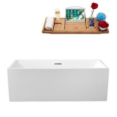 57.9 in. Acrylic Flatbottom Non-Whirlpool Bathtub in Glossy White