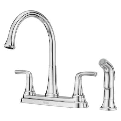 Ladera 2-Handle Kitchen Faucet with Optional Side Spray in Polished Chrome