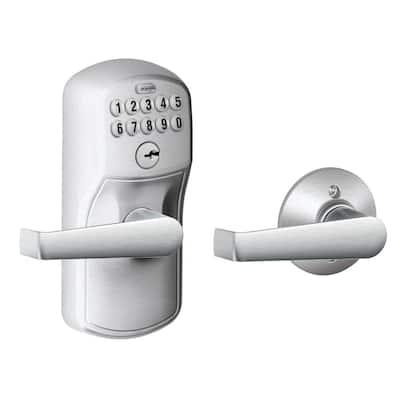 Plymouth Satin Chrome Electronic Door Lock with Elan Door Lever