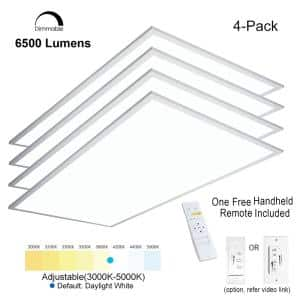 2 ft.x4 ft. 6500 Lumen600W Equivalent WhiteDimmable Color Changing CCT Integrated LED Flat Panel Light Troffer(4-Pack)