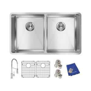 Crosstown Stainless Steel 32 in. Equal Double Bowl Undermount Kitchen Sink Kit with Faucet