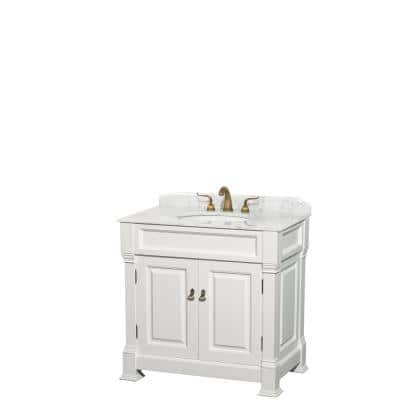 Andover 36 in. W x 23 in. D Bath Vanity in White with Marble Vanity Top in White with White Basin