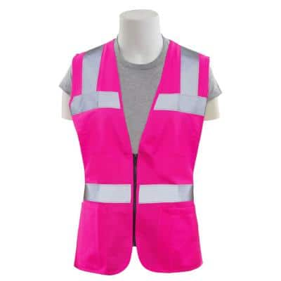 S721 S Non-ANSI Women's Fitted Poly Tricot Hi Viz Pink Vest