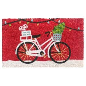 Multi 18 in. x30 in. Machine Tufted Christmas Cycle Doormat