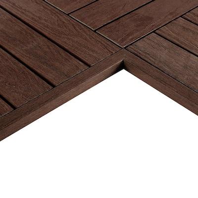 1/6 ft. x 1 ft. Quick Deck Composite Deck Tile Inside Corner Trim in California Redwood (2-Pieces/Box)
