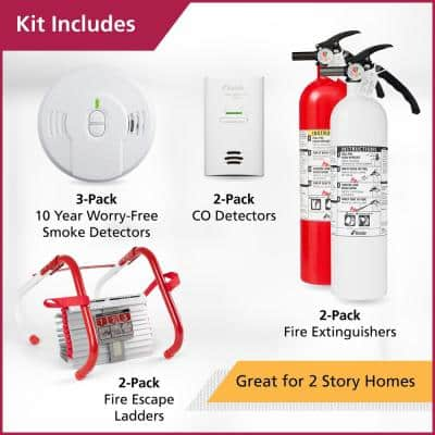 2-Story Home Fire Safety Kit, 2-Pack Smoke/CO Detector with 2-Pack Fire Escape Ladder & 2-Pack Fire Extinguisher