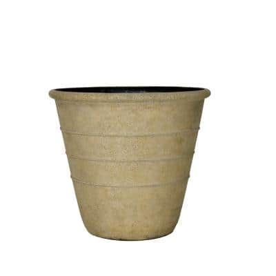 14 in. Dia x 12.25 in. H. Brown Washed Sand Cast Stone Triple Band Pot