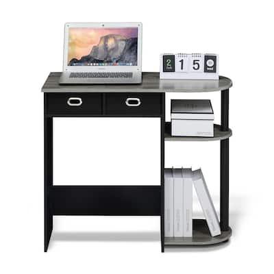 32 in. Rectangular Oak Gary 2 Drawer Computer Desk with Built-In Storage
