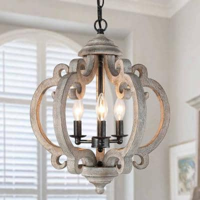 Wood Chandelier, 3-Light Rustic Farmhouse Black and Brushed Silver Lantern Pendant Hanging Light for Kitchen Island