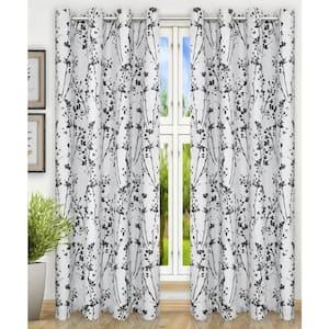 Chrome Floral Grommet Room Darkening Curtain - 50 in. W x 84 in. L