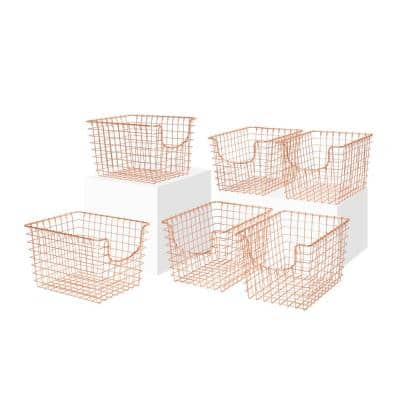 Scoop 12.75 in. D x 9.5 in. W x 8 in. H Small Copper Steel Wire Storage Bin Basket Organizer (6-Pack)